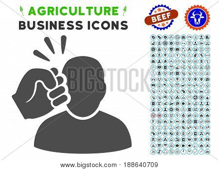Crime Violation Fist Strike gray icon with agriculture business icon clipart. Vector illustration style is a flat iconic symbol. Agriculture icons are rounded with blue circles.