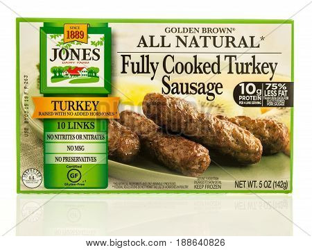 Winneconne WI - 13 May 2017: A box of Jones Dairy Fram fully cooked turkey sausage on an isolated background.