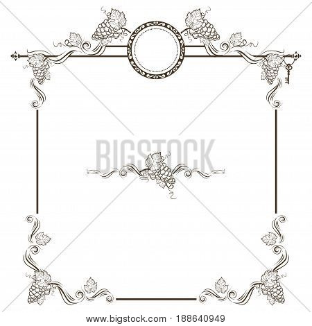 Vintage frame with bunch of  grapes. Vector illustration.