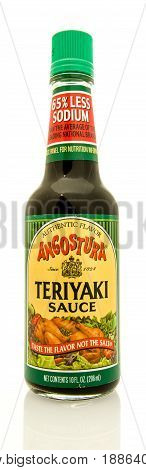 Winneconne WI - 16 May 2017: A bottle of Angostura teriyaki sauce on an isolated background.