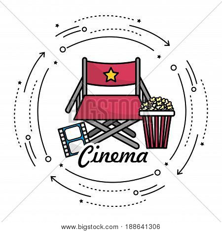 director seat with cinematography things, vector illustration