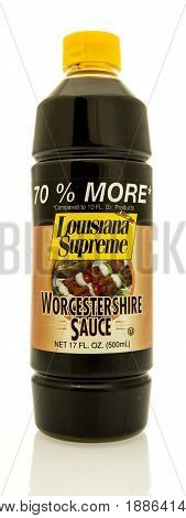 Winneconne WI - 16 May 2017: A bottle of Louisiana Supreme worcestershire sauce on an isolated background.