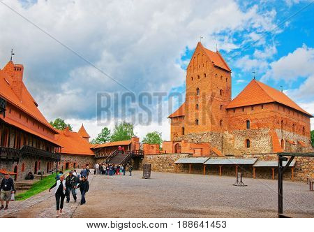 Tourists In Trakai Island Castle Museum At Day Time