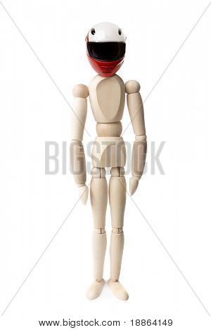 Wooden dummy with motorbike helmet isolated on white