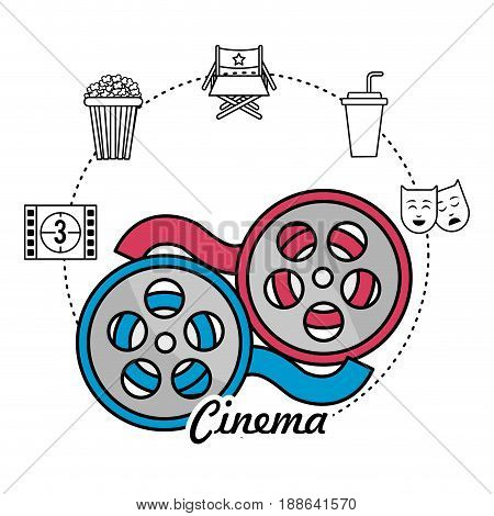 reel scene and filmstrip with short film icons, vector illustration