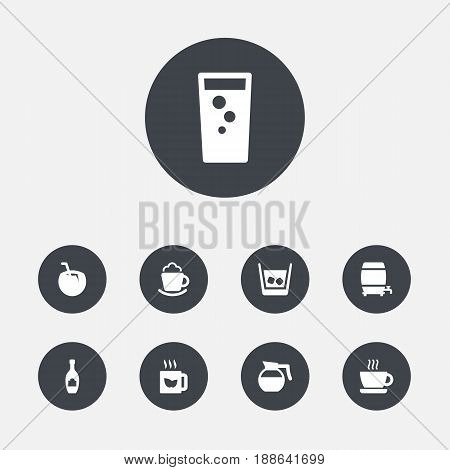 Set Of 9 Beverages Icons Set.Collection Of Ice, Alcohol, Cup And Other Elements.