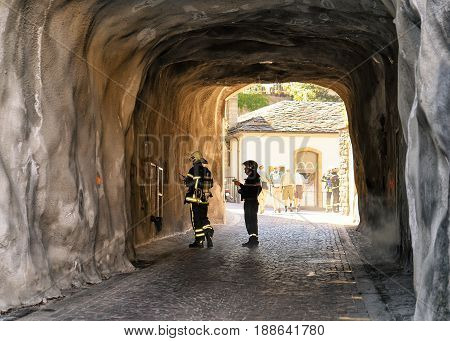 Firemen At Stone Gate In Old Town Sion Valais Switzerland