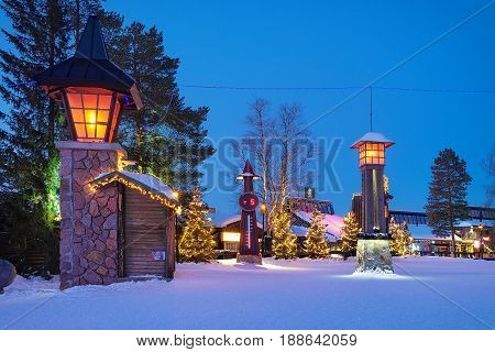 Street Lanterns And Temperature Meter At Santa Claus Village