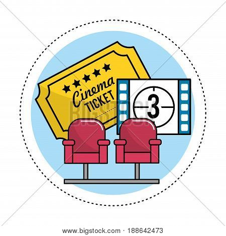 cinema seats with tickets and film countdown, vector illustration