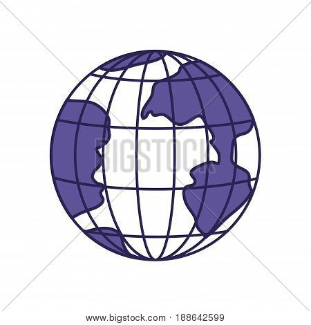 purple line contour of earth globe with meridians and parallels vector illustration