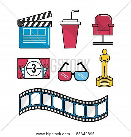 set cinematography scene to entertainment, vector illustration