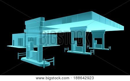 Gas Station. X-Ray image. 3d illustration. Industry concept