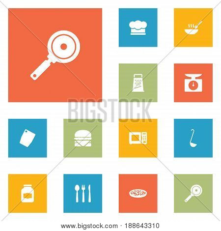 Set Of 12 Cooking Icons Set.Collection Of Broth, Pepperoni, Chef Cap And Other Elements.