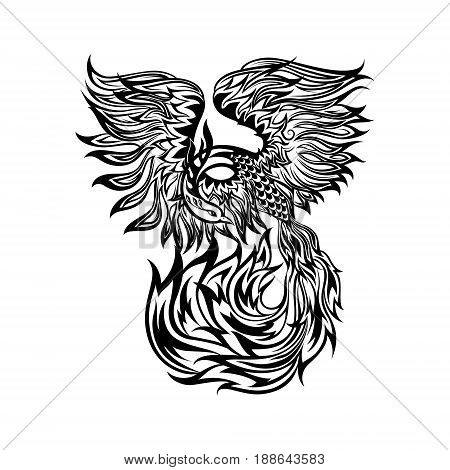Tattoo with flaming phoenix in doodle tribal style. hand drawn stylized illustration. phoenix flight, original artwork, isolated black lines on white background