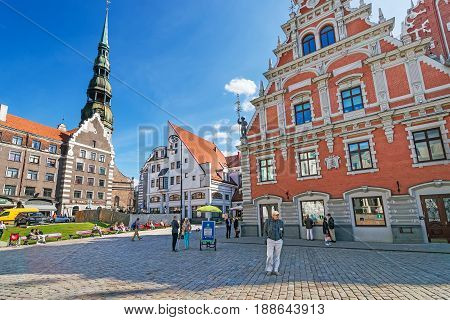 House Of Blackheads And St Peter Church In Riga