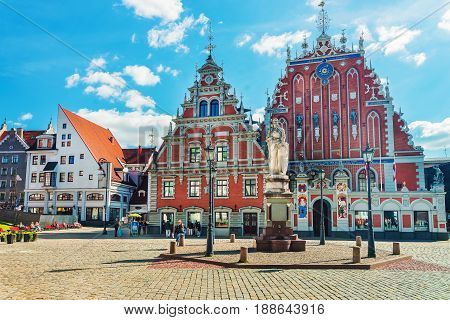 House Of Blackheads And People On Square Riga