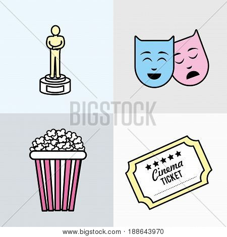 set cinematography tools to entertainmet studio, vector illustration