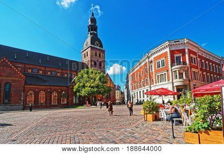 Dome Square With Riga Cathedral At Old Town Of Riga