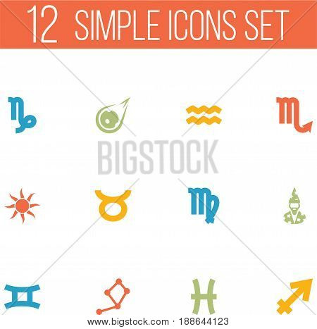 Set Of 12 Horoscope Icons Set.Collection Of Goat, Zodiac Sign, Water Bearer And Other Elements.