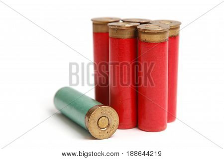 The hunting cartridges of 16 calibres on the white