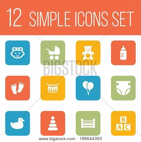 Set Of 12 Baby Icons Set.Collection Of Pram, Milk, Air Balloon And Other Elements.