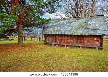 Old Wooden House At Ethnographic Open Air Village Riga