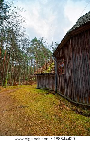 Old Wooden Building In Ethnographic Open Air Village Riga
