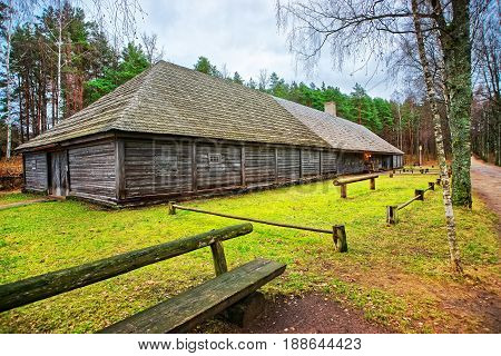 Old Wooden Building In Ethnographic Open Air Village In Riga