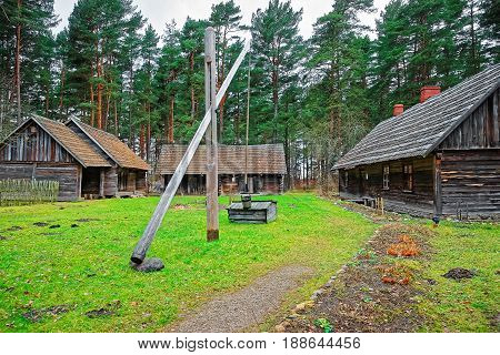 Old Traditional Buildings In Ethnographic Open Air Village In Riga