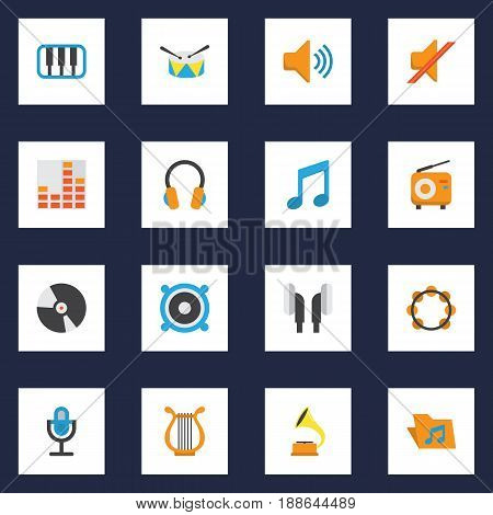 Music Flat Icons Set. Collection Of Pianoforte, Loudspeaker, Broadcasting And Other Elements. Also Includes Symbols Such As Piano, Drum, Tambourine.