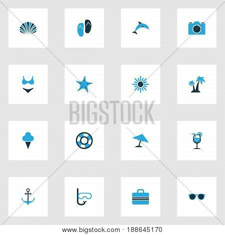 Hot Colorful Icons Set. Collection Of Swimming Mask, Sun, Flip Flop And Other Elements. Also Includes Symbols Such As Sea, Conch, Anchor.