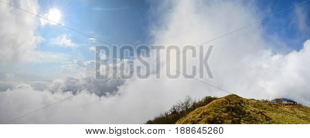 Magestic Cloudy Sky and Mountain panorama Landscape in Himalaya. Nepal, Annapurna region, Mardi Himal track.