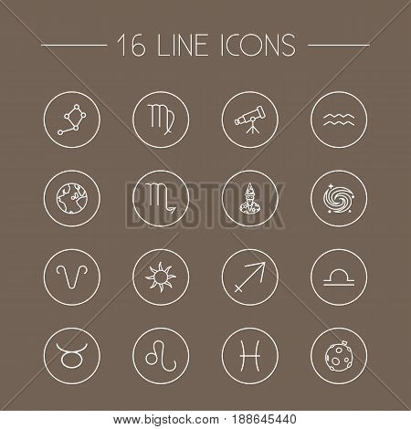 Set Of 16 Galaxy Outline Icons Set.Collection Of Leo, Pisces, Taurus And Other Elements.