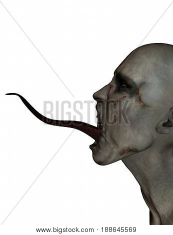 3d illustration of Scary monster in white background