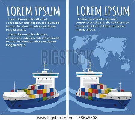 Sea shipping flyer template set. Maritime container transportation, commercial transportation logistics. Worldwide freight shipping business company, global delivery service vector illustration