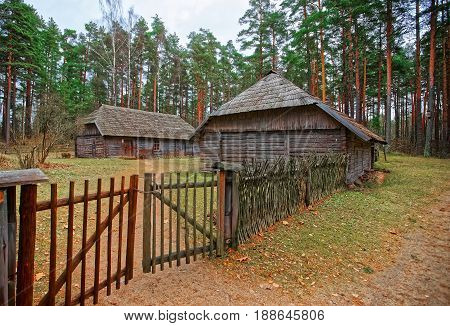 Old Building And Wooden Fence At Ethnographic Village In Riga