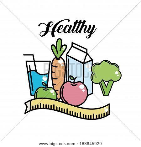heathy food to fitness lifestyle activity, vector illustration