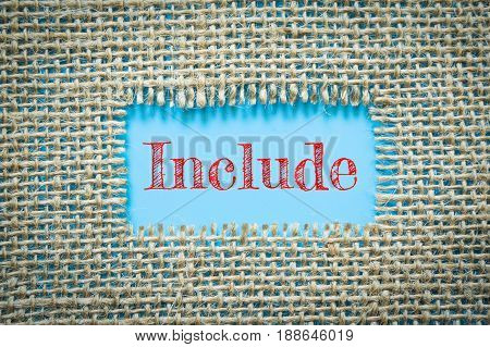 Text Include on paper blue has Cotton yarn background you can apply to your product.