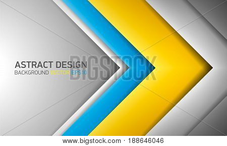 Abstract volume background. Yellow, blue, and gray stripes with shadows. Cover for project presentation, vector design