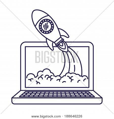 purple line contour of laptop computer and space rocket vector illustration