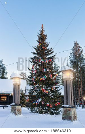 Street Lanterns In Santa Claus Village Lapland At Sunset