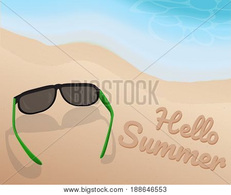 Sunglasses place on sand at the beautiful beach and shading blue tone of wave and writing Hello Summer on the sand. illustration. vector. graphic design. summer season.