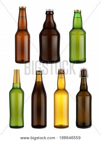 Beer bottle glass isolated on white background. Vector packaging mockup with realistic bottle. Beer bottle glass set. Beer bottles different size. Vector beer bottle.