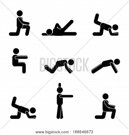 Exercises body workout stretching man stick figure. Healthy life style vector pictogram