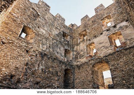 Walls Of Tourbillon Castle In Sion Valais Switzerland