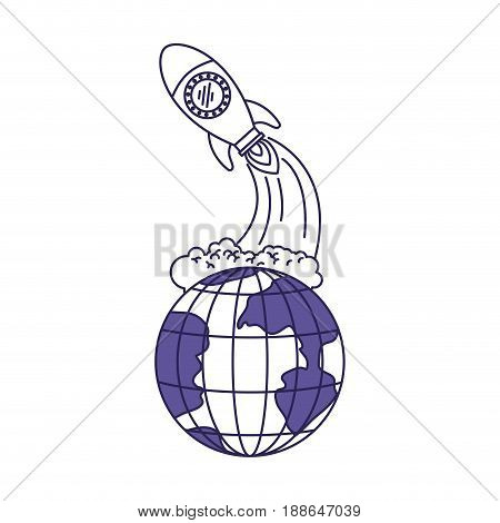 purple line contour of earth globe and space rocket launching vector illustration