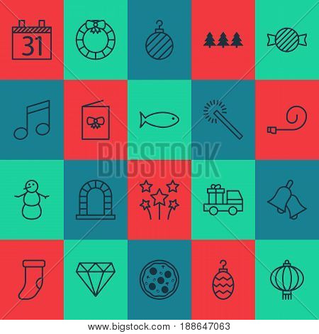 Happy New Year Icons Set. Collection Of Fishing, Ringer, Winter And Other Elements. Also Includes Symbols Such As Jingle, Clothing, Snowman.