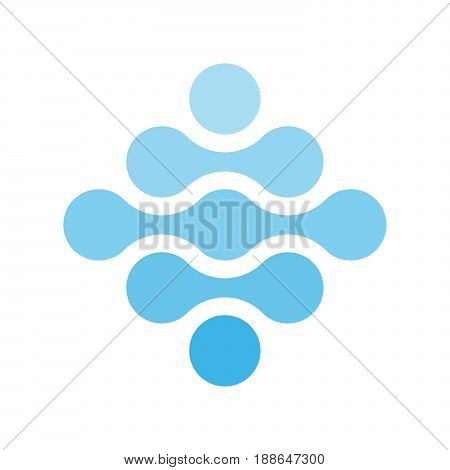 Connected dots in a shape of rhombus and shades of blue. Water theme concept. Abstract design element. Vector illustration.