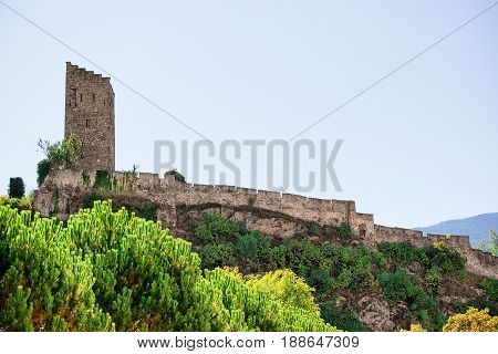Tower Of Majorie Castle In Sion Valais Switzerland