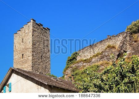Tower Of Majorie Castle Of Sion Valais Switzerland